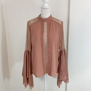 Express Orange-y Tan Bell Sleeve Lace Accent Top